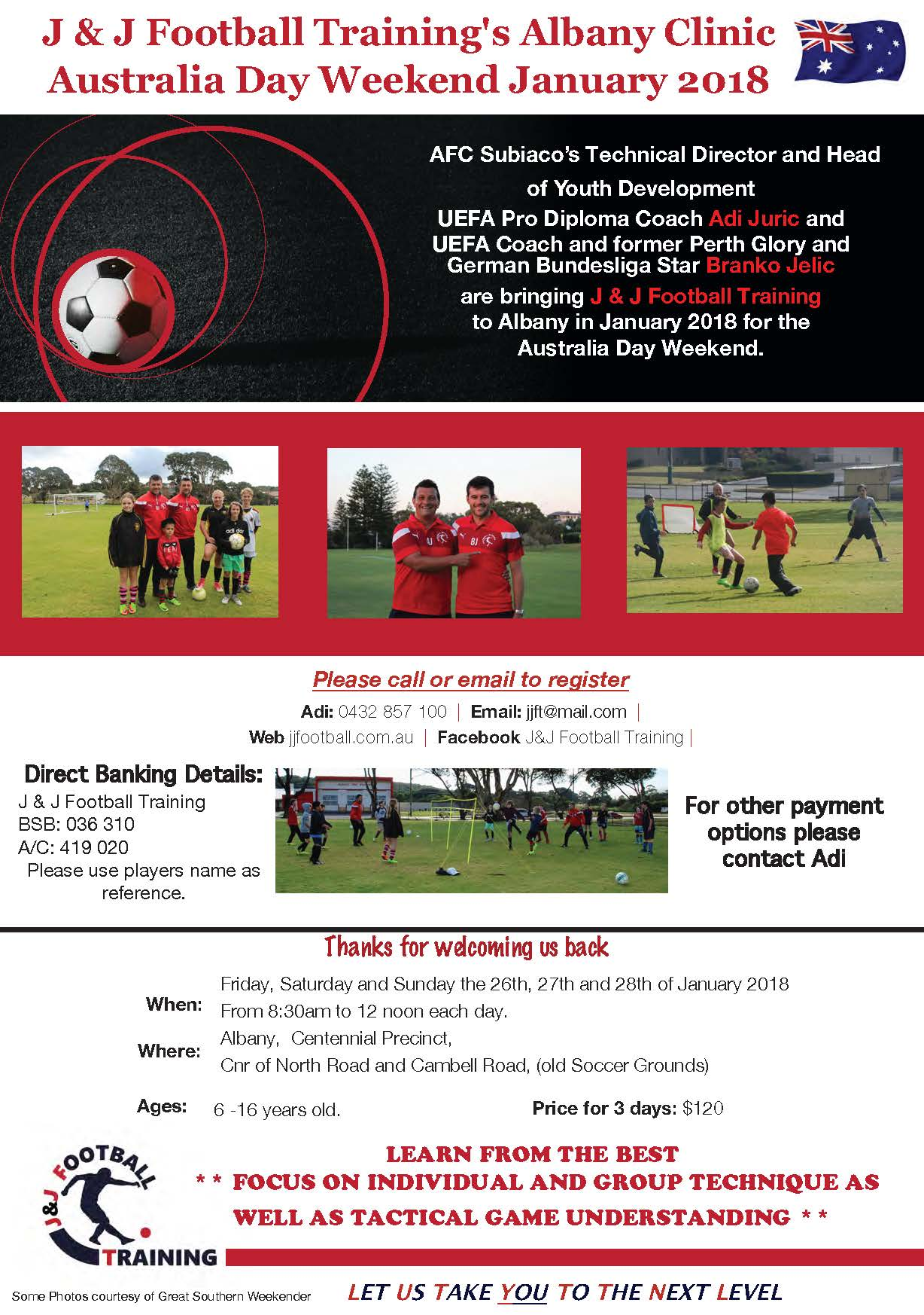 Australia Day Soccer Clinic in Albany!!! 26th, 27th and 28th of January…We are back!!!
